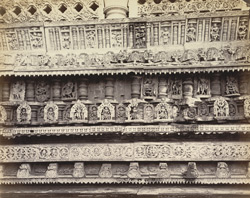 Views in Mysore. Bailoor Temple [Chennakeshava Temple, Belur]. Carvings in detail on east side 212612